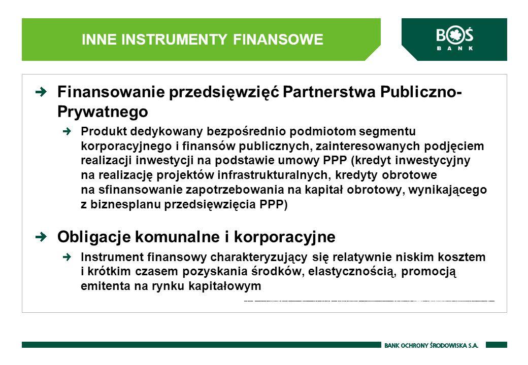 Finansowanie przedsięwzięć Partnerstwa Publiczno- Prywatnego Produkt dedykowany bezpośrednio podmiotom segmentu korporacyjnego i finansów publicznych,