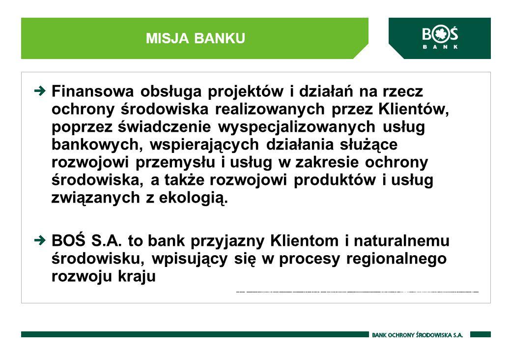 MISJA BANKU Finansowa obsługa projektów i działań na rzecz ochrony środowiska realizowanych przez Klientów, poprzez świadczenie wyspecjalizowanych usł