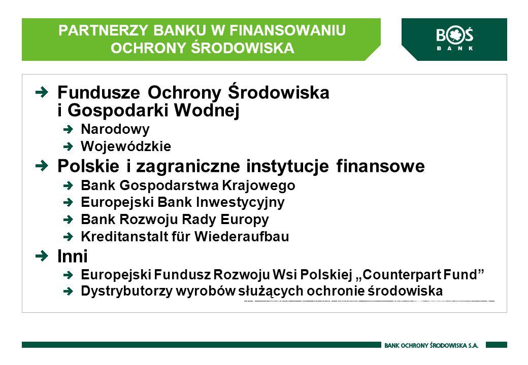 Fundusze Ochrony Środowiska i Gospodarki Wodnej Narodowy Wojewódzkie Polskie i zagraniczne instytucje finansowe Bank Gospodarstwa Krajowego Europejski