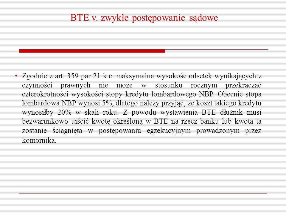 BTE v. zwykłe postępowanie sądowe Zgodnie z art. 359 par 21 k.c. maksymalna wysokość odsetek wynikających z czynności prawnych nie może w stosunku roc