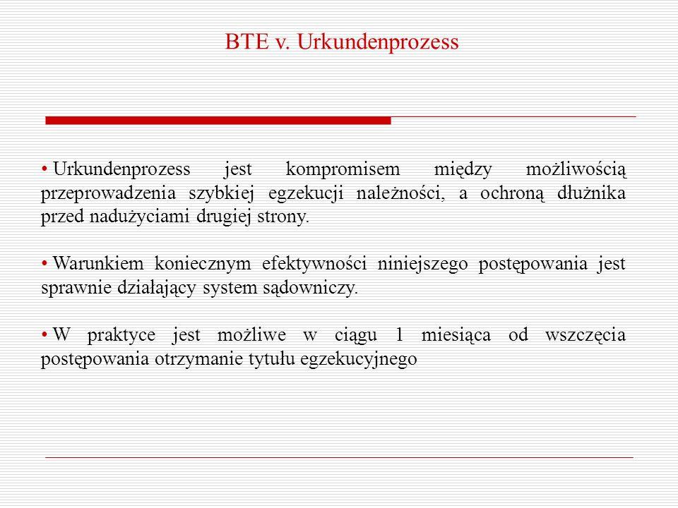 BTE v. Urkundenprozess Urkundenprozess jest kompromisem między możliwością przeprowadzenia szybkiej egzekucji należności, a ochroną dłużnika przed nad