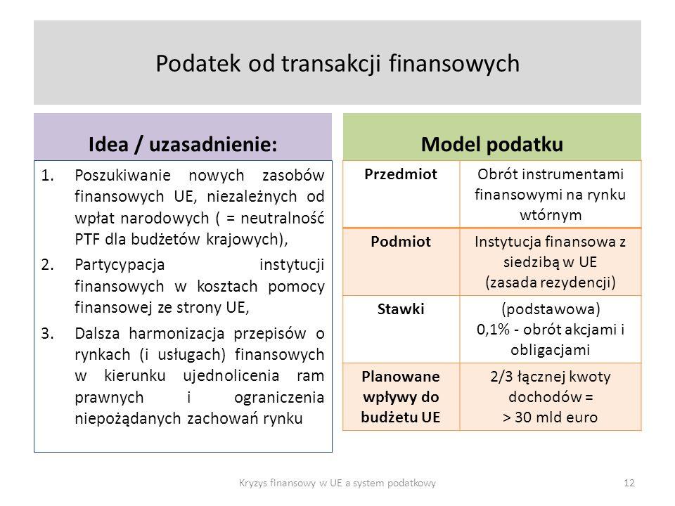 Podatek od transakcji finansowych Idea / uzasadnienie: 1.Poszukiwanie nowych zasobów finansowych UE, niezależnych od wpłat narodowych ( = neutralność PTF dla budżetów krajowych), 2.Partycypacja instytucji finansowych w kosztach pomocy finansowej ze strony UE, 3.Dalsza harmonizacja przepisów o rynkach (i usługach) finansowych w kierunku ujednolicenia ram prawnych i ograniczenia niepożądanych zachowań rynku Model podatku PrzedmiotObrót instrumentami finansowymi na rynku wtórnym PodmiotInstytucja finansowa z siedzibą w UE (zasada rezydencji) Stawki(podstawowa) 0,1% - obrót akcjami i obligacjami Planowane wpływy do budżetu UE 2/3 łącznej kwoty dochodów = > 30 mld euro Kryzys finansowy w UE a system podatkowy12