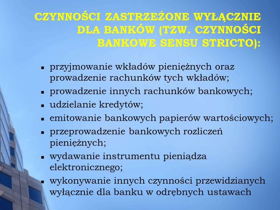 CZYNNOŚCI ZASTRZEŻONE WYŁĄCZNIE DLA BANKÓW (TZW. CZYNNOŚCI BANKOWE SENSU STRICTO): przyjmowanie wkładów pieniężnych oraz prowadzenie rachunków tych wk