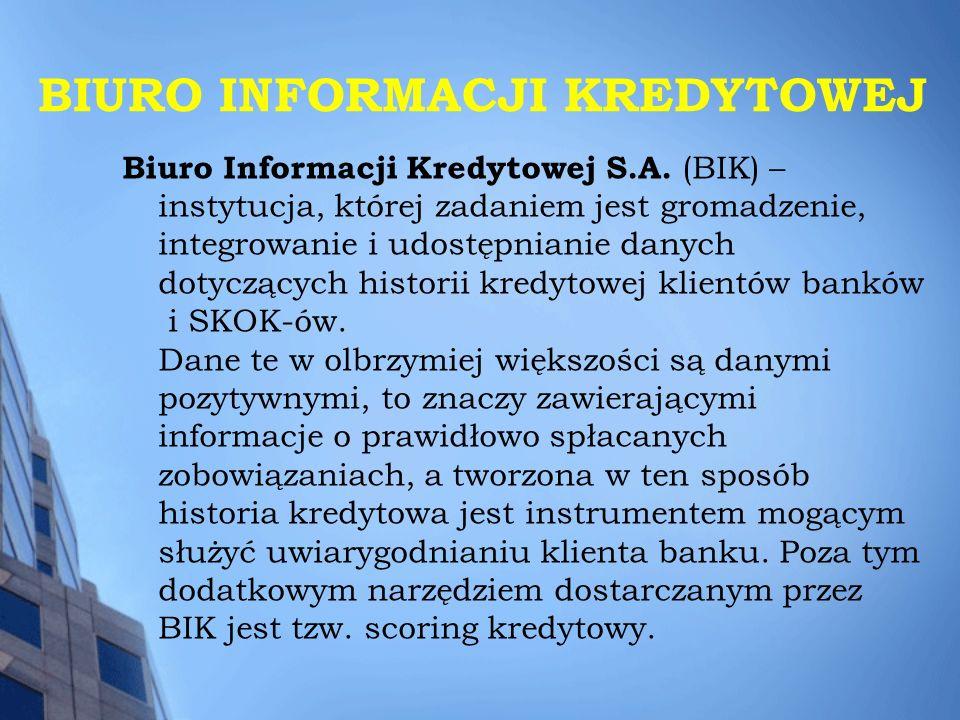 BIURO INFORMACJI KREDYTOWEJ Biuro Informacji Kredytowej S.A. (BIK) – instytucja, której zadaniem jest gromadzenie, integrowanie i udostępnianie danych