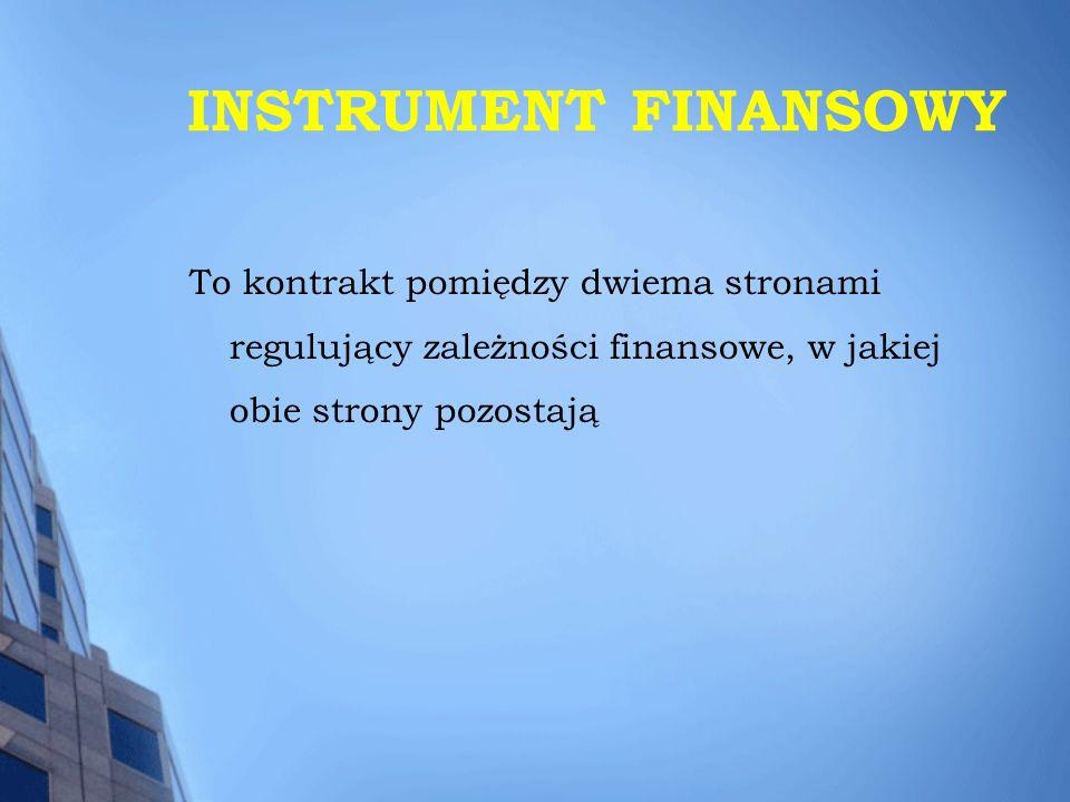 INSTRUMENT FINANSOWY To kontrakt pomiędzy dwiema stronami regulujący zależności finansowe, w jakiej obie strony pozostają