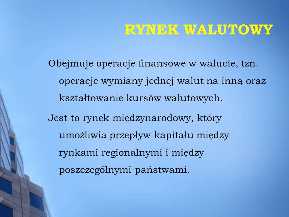 RYNEK WALUTOWY Obejmuje operacje finansowe w walucie, tzn. operacje wymiany jednej walut na inną oraz kształtowanie kursów walutowych. Jest to rynek m