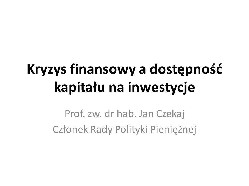 Plan prezentacji Kryzys światowego systemu: – Przyczyny – Skutki Czynniki determinujące dostępność kapitału na inwestycje: – Sytuacja sektora bankowego, – Sytuacja finansowa przedsiębiorstw, – Bezpośrednie inwestycje zagraniczne, – Napływ środków unijnych.