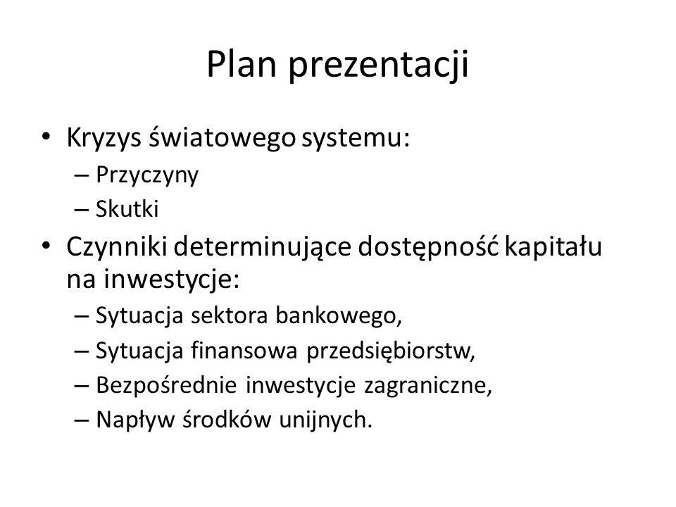Czynniki determinujące dopływ kapitału na inwestycje Dostępność kapitału na inwestycje będzie uwarunkowana następującymi czynnikami: – Sytuacją sektora bankowego, – Sytuacją finansową przedsiębiorstw, – Sytuacją finansową gospodarstw domowych, – Napływem bezpośrednich inwestycji zagranicznych, – Skutecznością w wykorzystaniu środków unijnych przeznaczonych na inwestycje.