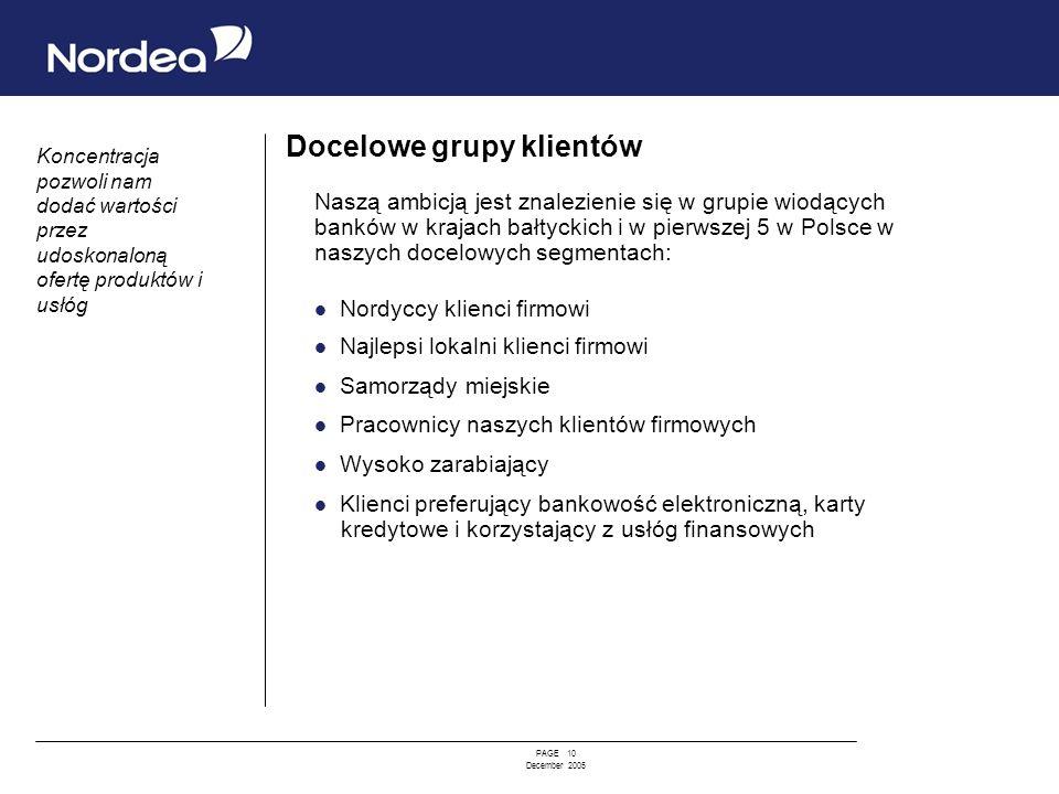 PAGE 10 December 2005 Docelowe grupy klientów Naszą ambicją jest znalezienie się w grupie wiodących banków w krajach bałtyckich i w pierwszej 5 w Pols