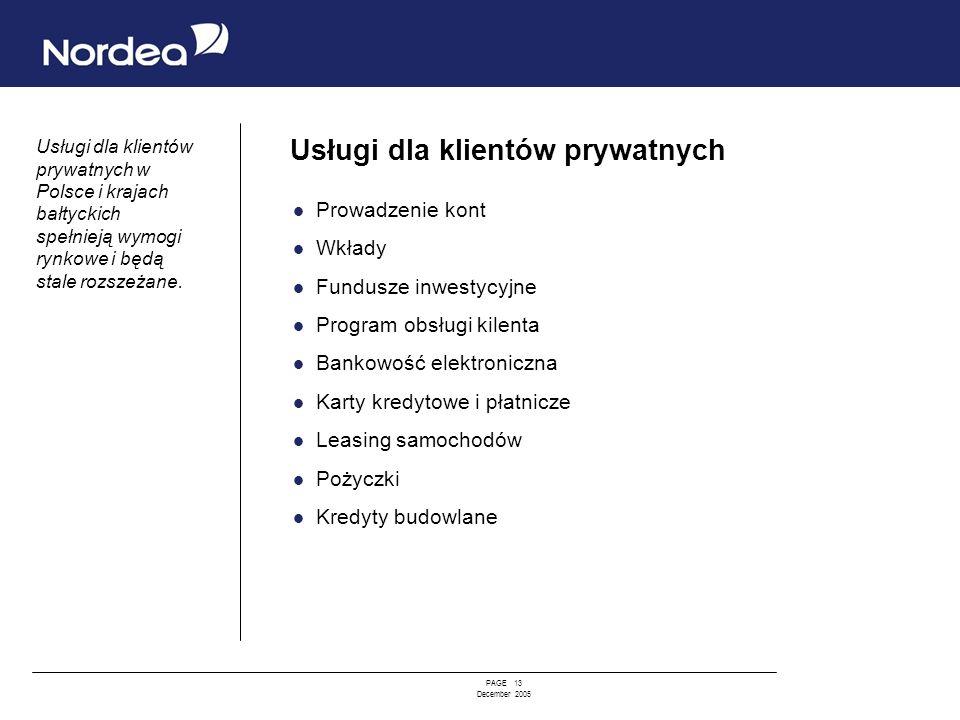 PAGE 13 December 2005 Usługi dla klientów prywatnych Prowadzenie kont Wkłady Fundusze inwestycyjne Program obsługi kilenta Bankowość elektroniczna Kar