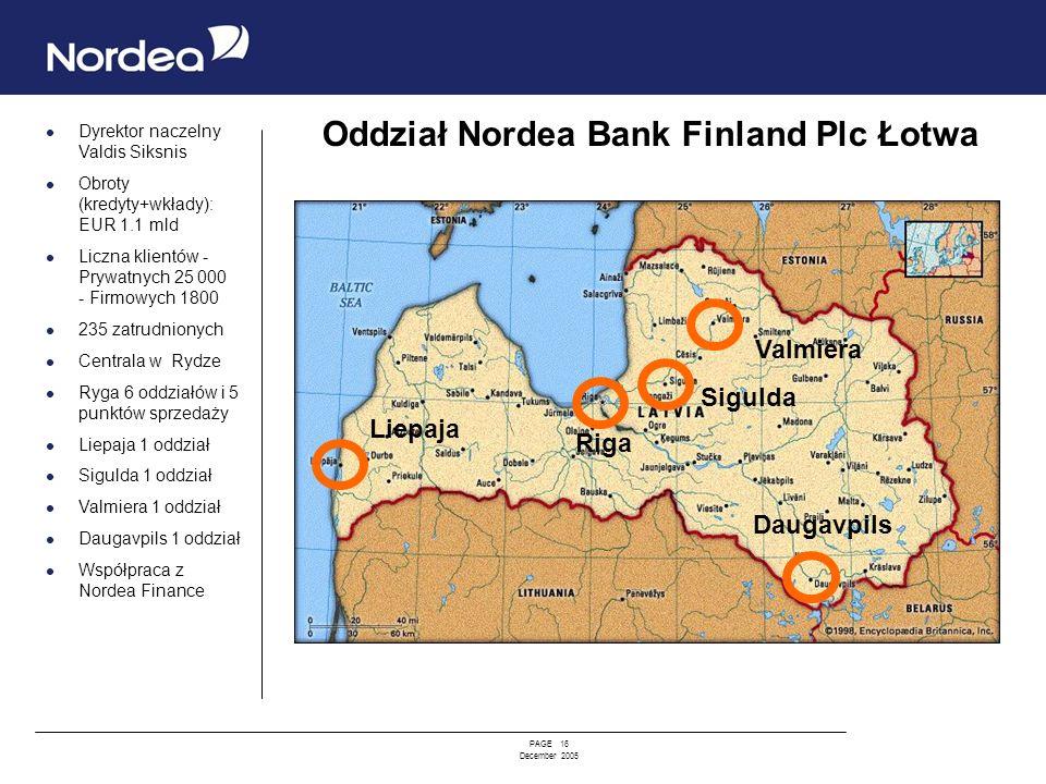 PAGE 16 December 2005 Dyrektor naczelny Valdis Siksnis Obroty (kredyty+wkłady): EUR 1.1 mld Liczna klientów - Prywatnych 25 000 - Firmowych 1800 235 z