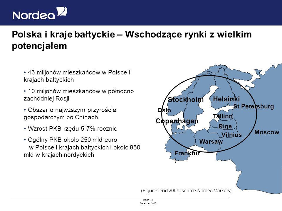PAGE 3 December 2005 Polska i kraje bałtyckie – Wschodzące rynki z wielkim potencjałem Riga Vilnius Tallinn Helsinki Stockholm St Petersburg Frankfur