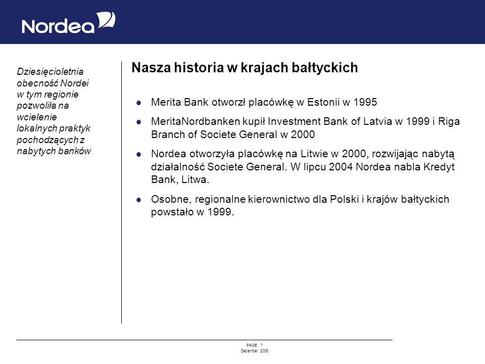 PAGE 7 December 2005 Nasza historia w krajach bałtyckich Merita Bank otworzł placówkę w Estonii w 1995 MeritaNordbanken kupił Investment Bank of Latvia w 1999 i Riga Branch of Societe General w 2000 Nordea otworzyła placówkę na Litwie w 2000, rozwijając nabytą działalność Societe General.