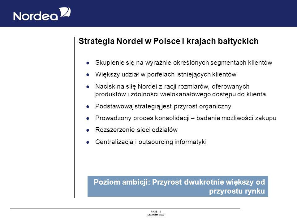 PAGE 9 December 2005 Strategia Nordei w Polsce i krajach bałtyckich Skupienie się na wyrażnie określonych segmentach klientów Większy udział w porfela