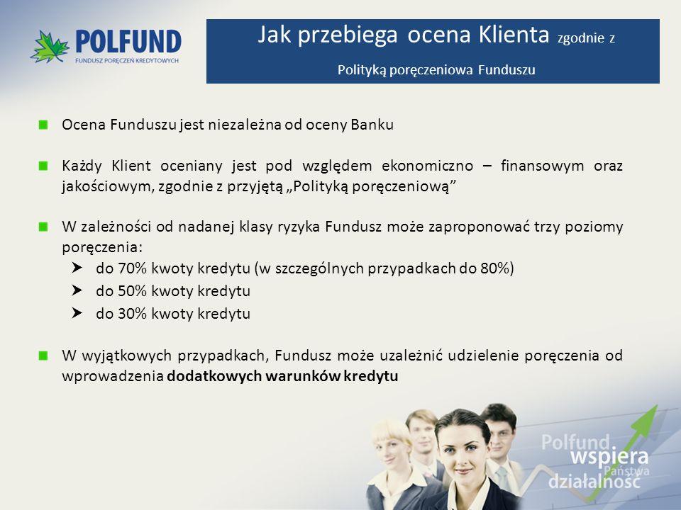 Ocena Funduszu jest niezależna od oceny Banku Każdy Klient oceniany jest pod względem ekonomiczno – finansowym oraz jakościowym, zgodnie z przyjętą Po