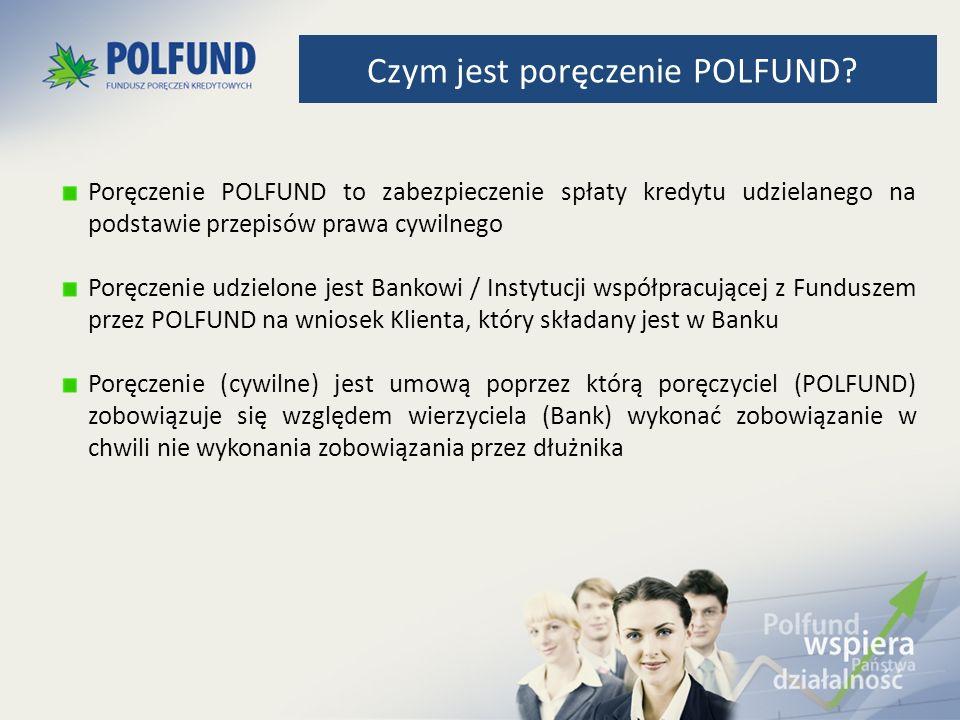 Poręczenie POLFUND to zabezpieczenie spłaty kredytu udzielanego na podstawie przepisów prawa cywilnego Poręczenie udzielone jest Bankowi / Instytucji