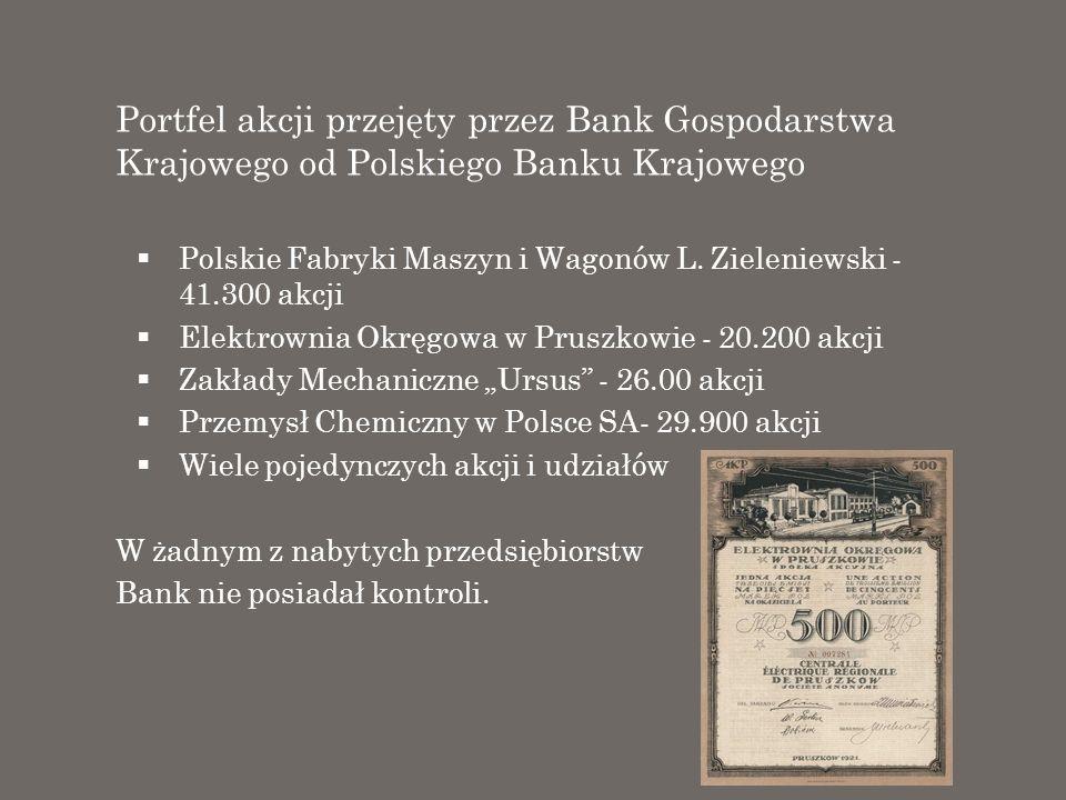 Portfel akcji przejęty przez Bank Gospodarstwa Krajowego od Polskiego Banku Krajowego Polskie Fabryki Maszyn i Wagonów L. Zieleniewski - 41.300 akcji