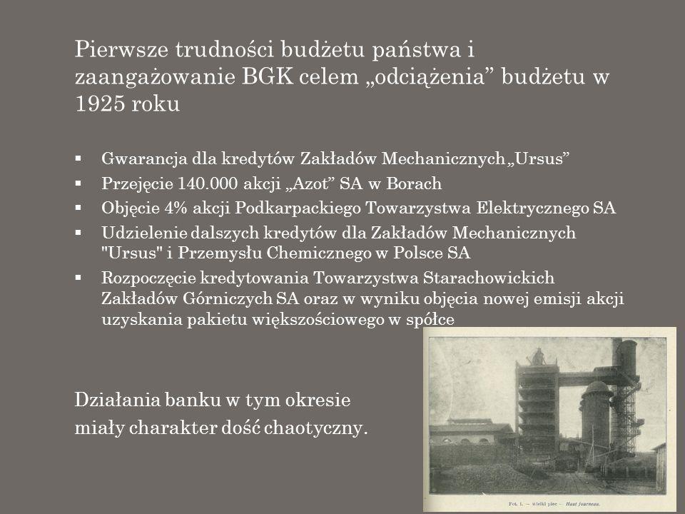 Pierwsze trudności budżetu państwa i zaangażowanie BGK celem odciążenia budżetu w 1925 roku Gwarancja dla kredytów Zakładów Mechanicznych Ursus Przeję