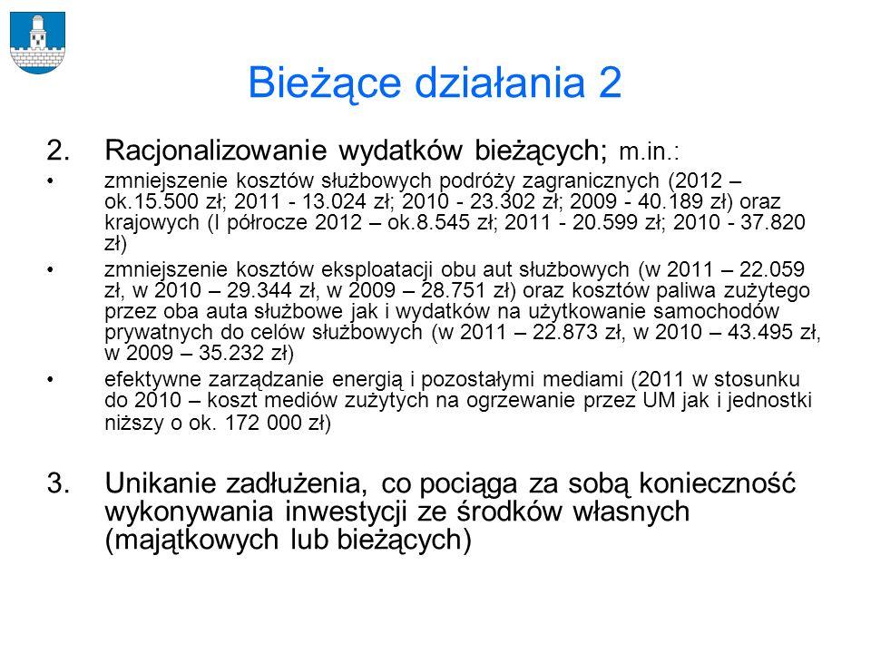 Bieżące działania 2 2. Racjonalizowanie wydatków bieżących; m.in.: zmniejszenie kosztów służbowych podróży zagranicznych (2012 – ok.15.500 zł; 2011 -