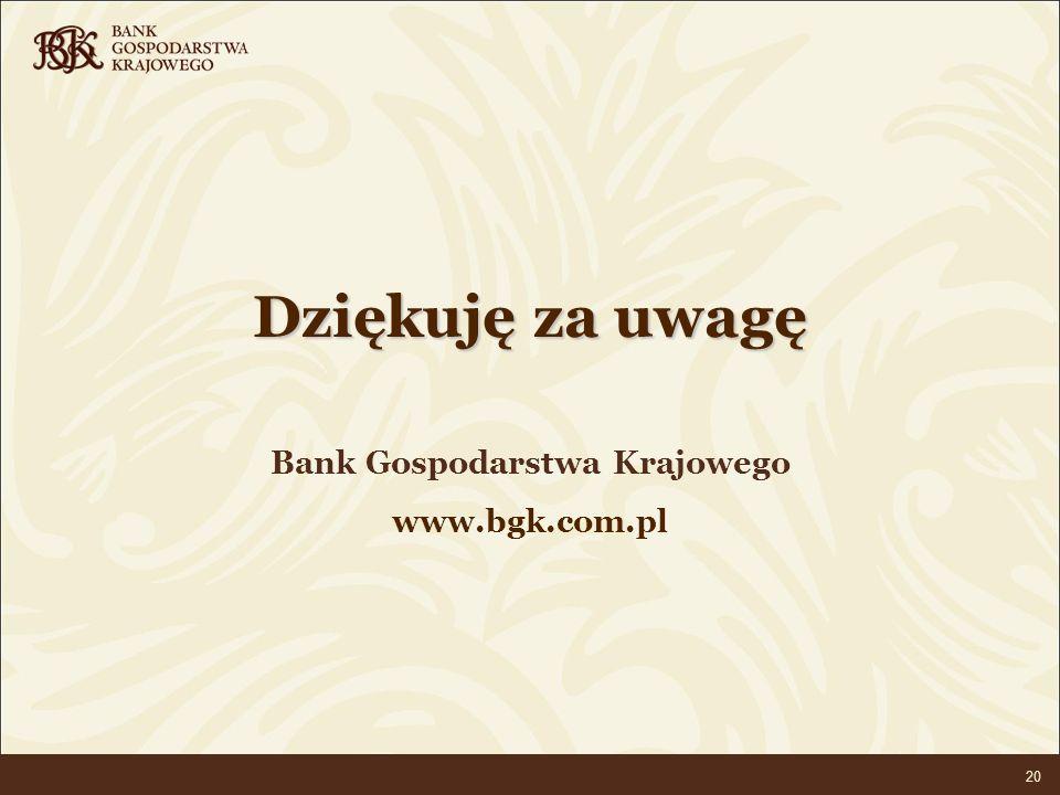 BANK GOSPODARSTWA KRAJOWEGO 20 Dziękuję za uwagę Bank Gospodarstwa Krajowego www.bgk.com.pl