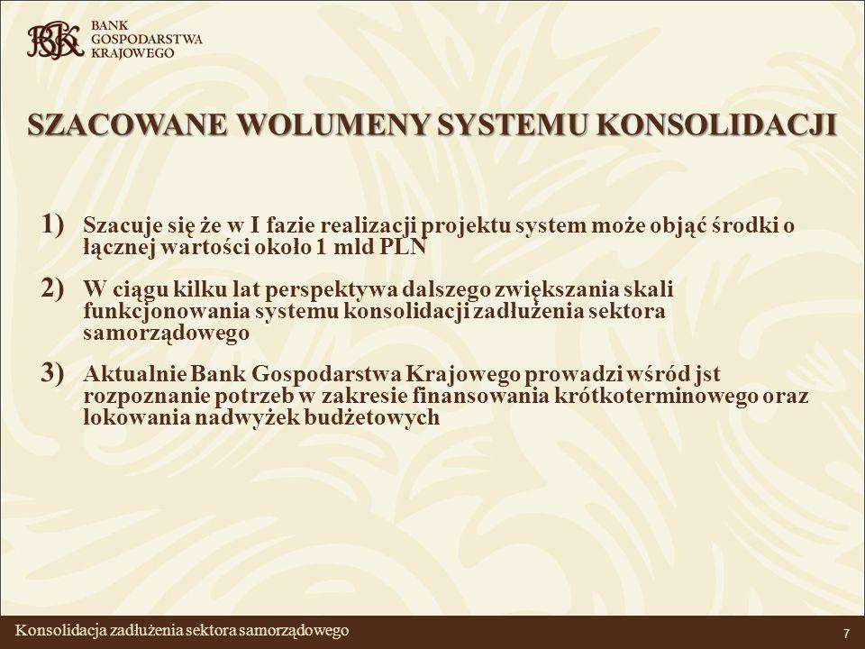 BANK GOSPODARSTWA KRAJOWEGO 7 SZACOWANE WOLUMENY SYSTEMU KONSOLIDACJI 1) Szacuje się że w I fazie realizacji projektu system może objąć środki o łącznej wartości około 1 mld PLN 2) W ciągu kilku lat perspektywa dalszego zwiększania skali funkcjonowania systemu konsolidacji zadłużenia sektora samorządowego 3) Aktualnie Bank Gospodarstwa Krajowego prowadzi wśród jst rozpoznanie potrzeb w zakresie finansowania krótkoterminowego oraz lokowania nadwyżek budżetowych Konsolidacja zadłużenia sektora samorządowego
