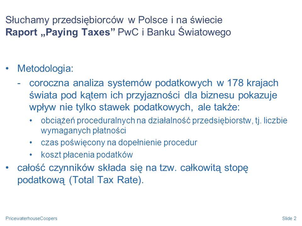 PricewaterhouseCoopersSlide 2 Słuchamy przedsiębiorców w Polsce i na świecie Raport Paying Taxes PwC i Banku Światowego Metodologia: -coroczna analiza