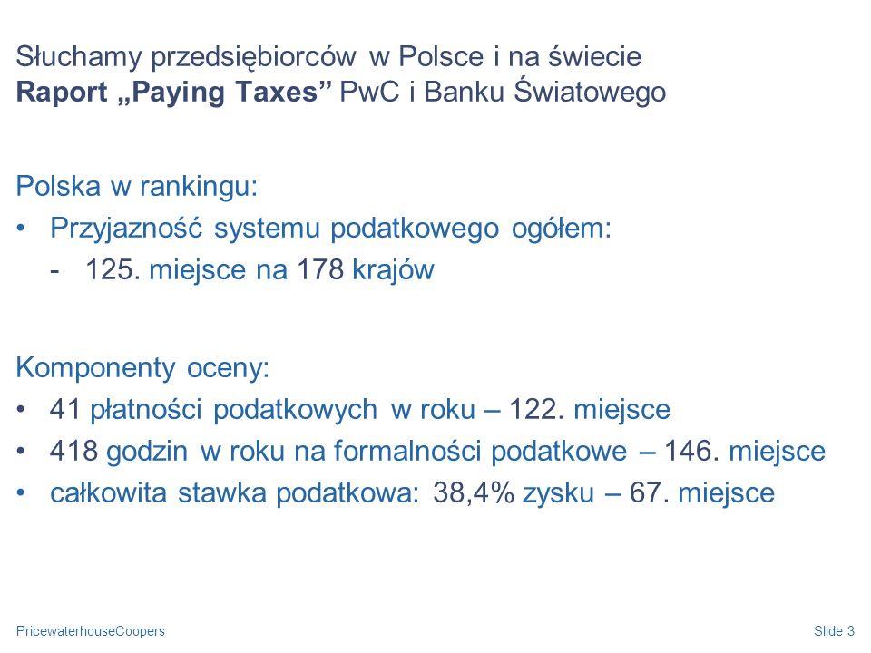 PricewaterhouseCoopersSlide 3 Słuchamy przedsiębiorców w Polsce i na świecie Raport Paying Taxes PwC i Banku Światowego Polska w rankingu: Przyjazność