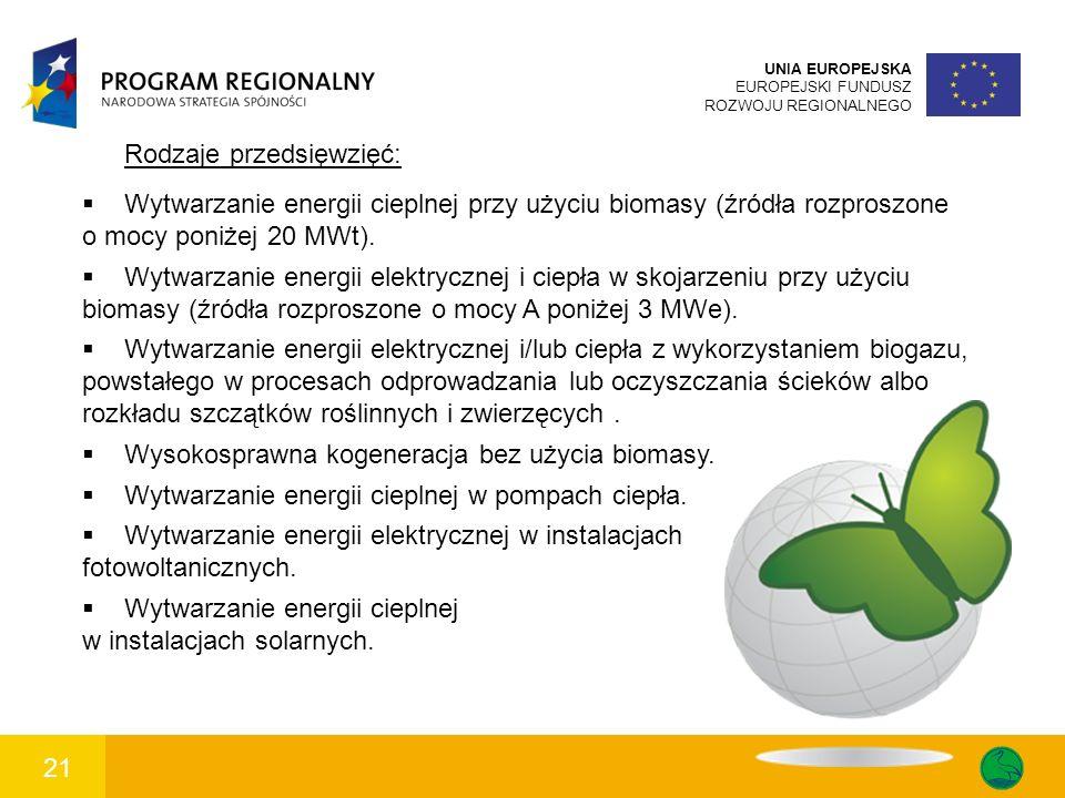 21 UNIA EUROPEJSKA EUROPEJSKI FUNDUSZ ROZWOJU REGIONALNEGO Rodzaje przedsięwzięć: Wytwarzanie energii cieplnej przy użyciu biomasy (źródła rozproszone o mocy poniżej 20 MWt).