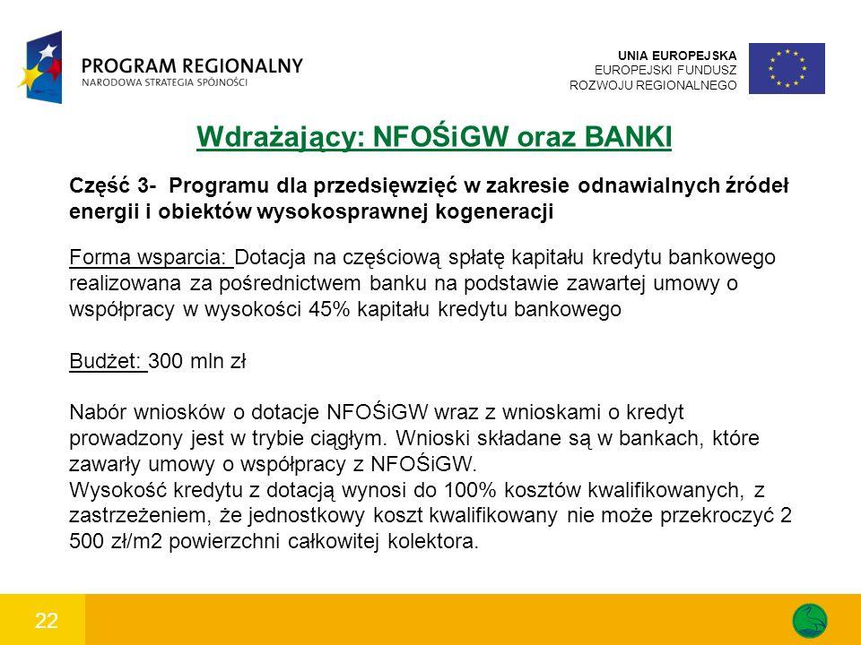 22 UNIA EUROPEJSKA EUROPEJSKI FUNDUSZ ROZWOJU REGIONALNEGO Wdrażający: NFOŚiGW oraz BANKI Część 3- Programu dla przedsięwzięć w zakresie odnawialnych źródeł energii i obiektów wysokosprawnej kogeneracji Forma wsparcia: Dotacja na częściową spłatę kapitału kredytu bankowego realizowana za pośrednictwem banku na podstawie zawartej umowy o współpracy w wysokości 45% kapitału kredytu bankowego Budżet: 300 mln zł Nabór wniosków o dotacje NFOŚiGW wraz z wnioskami o kredyt prowadzony jest w trybie ciągłym.