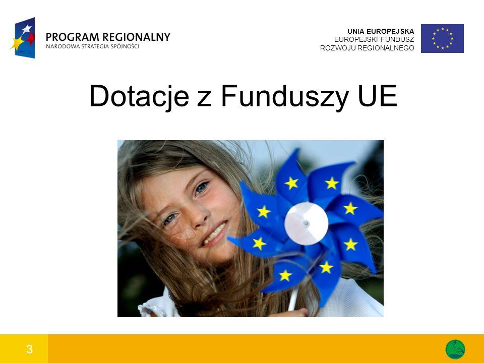 3 UNIA EUROPEJSKA EUROPEJSKI FUNDUSZ ROZWOJU REGIONALNEGO Dotacje z Funduszy UE