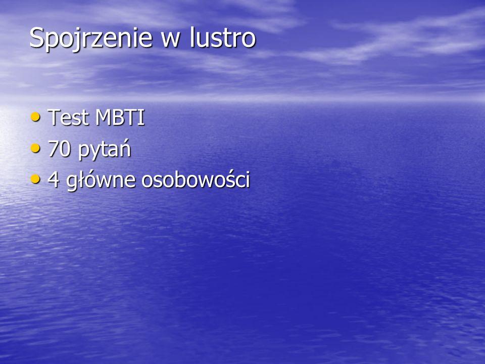 Spojrzenie w lustro Test MBTI Test MBTI 70 pytań 70 pytań 4 główne osobowości 4 główne osobowości