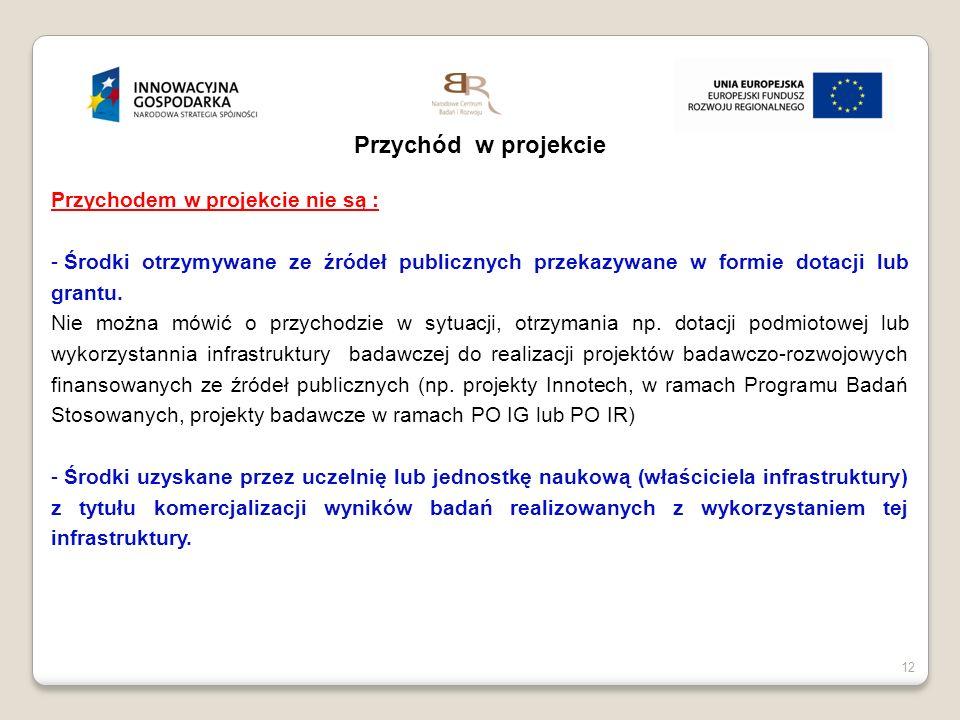 12 Przychód w projekcie Przychodem w projekcie nie są : - Środki otrzymywane ze źródeł publicznych przekazywane w formie dotacji lub grantu. Nie można