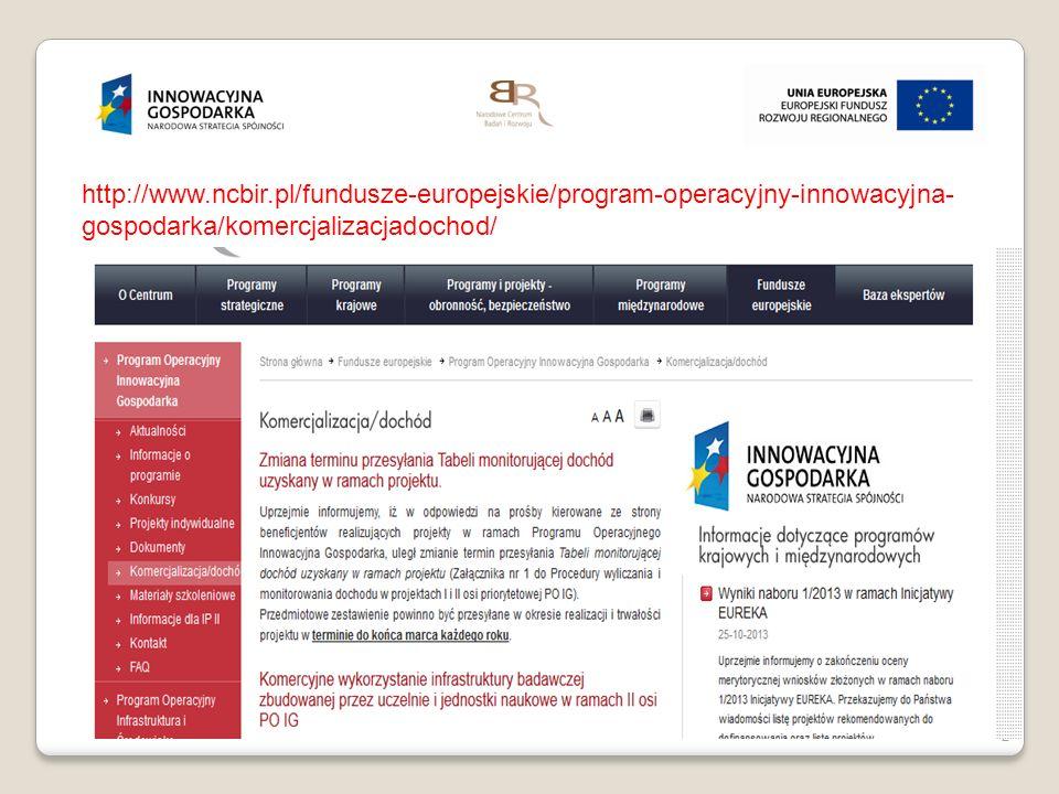 2 http://www.ncbir.pl/fundusze-europejskie/program-operacyjny-innowacyjna- gospodarka/komercjalizacjadochod/