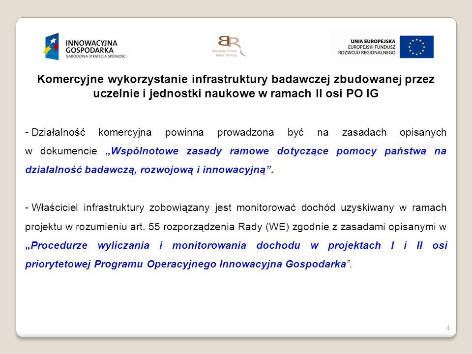 4 Komercyjne wykorzystanie infrastruktury badawczej zbudowanej przez uczelnie i jednostki naukowe w ramach II osi PO IG - Działalność komercyjna powin