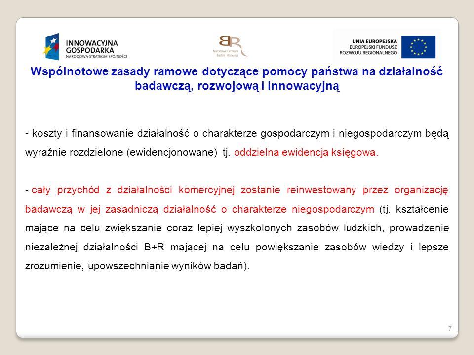 7 Wspólnotowe zasady ramowe dotyczące pomocy państwa na działalność badawczą, rozwojową i innowacyjną - koszty i finansowanie działalność o charakterz