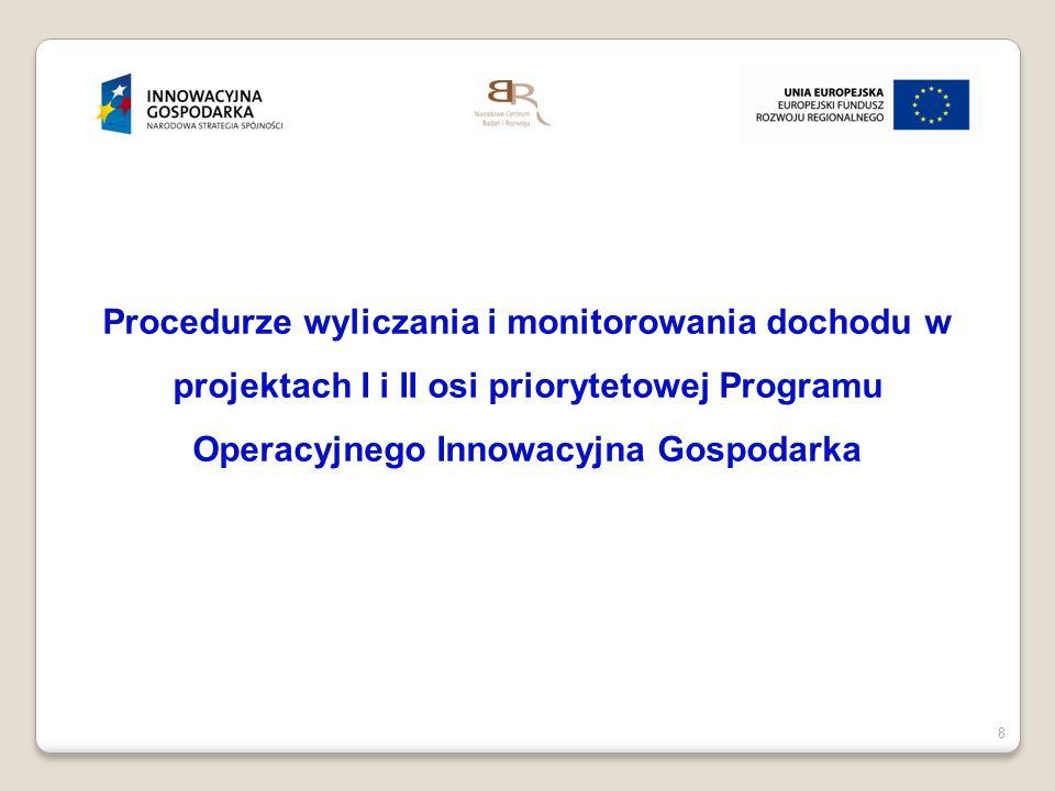 9 Monitorowanie dochodu w projekcie W trakcie trwania projektu oraz w okresie do 5 lat od jego zakończenia, beneficjenci zobowiązani są do informowania Instytucji Pośredniczącej o przychodach oraz kosztach operacyjnych związanych z funkcjonowaniem całego projektu w podziale na poszczególne źródła.