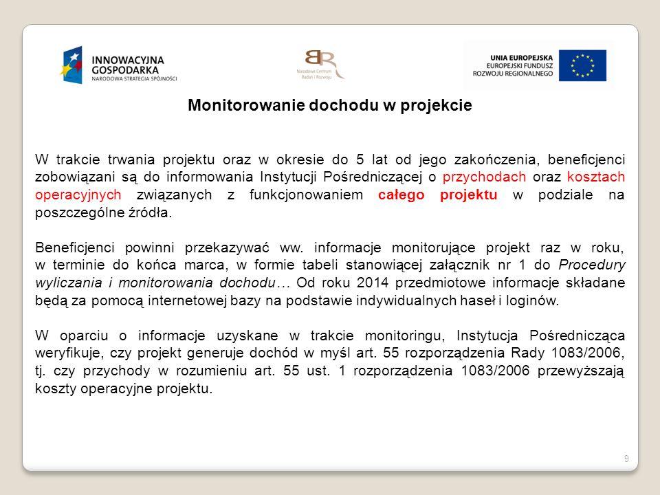9 Monitorowanie dochodu w projekcie W trakcie trwania projektu oraz w okresie do 5 lat od jego zakończenia, beneficjenci zobowiązani są do informowani