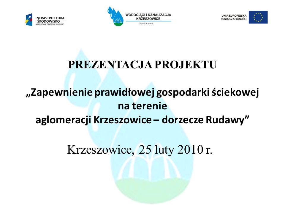 PREZENTACJA PROJEKTU Zapewnienie prawidłowej gospodarki ściekowej na terenie aglomeracji Krzeszowice – dorzecze Rudawy Krzeszowice, 25 luty 2010 r.