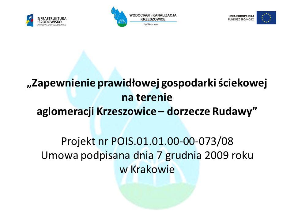 Zapewnienie prawidłowej gospodarki ściekowej na terenie aglomeracji Krzeszowice – dorzecze Rudawy Projekt nr POIS.01.01.00-00-073/08 Umowa podpisana d