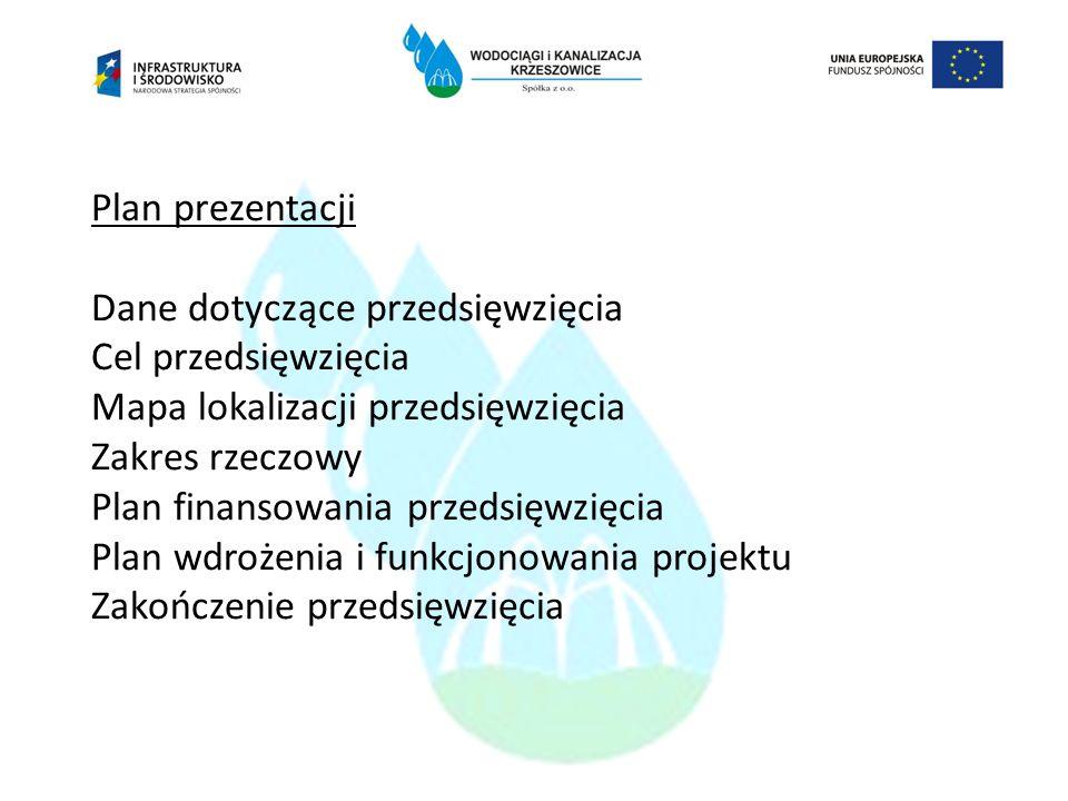 Plan prezentacji Dane dotyczące przedsięwzięcia Cel przedsięwzięcia Mapa lokalizacji przedsięwzięcia Zakres rzeczowy Plan finansowania przedsięwzięcia