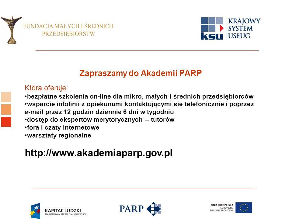 Zapraszamy do Akademii PARP Która oferuje: bezpłatne szkolenia on-line dla mikro, małych i średnich przedsiębiorców wsparcie infolinii z opiekunami kontaktującymi się telefonicznie i poprzez e-mail przez 12 godzin dziennie 6 dni w tygodniu dostęp do ekspertów merytorycznych – tutorów fora i czaty internetowe warsztaty regionalne http://www.akademiaparp.gov.pl