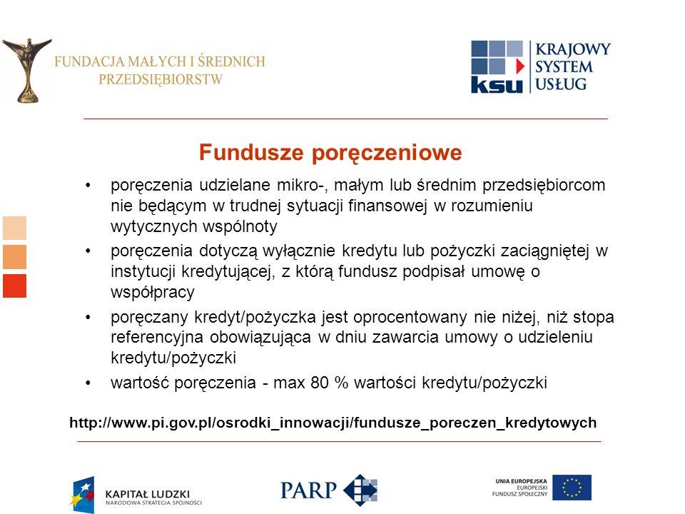 Logo ośrodka KSU Fundusze poręczeniowe poręczenia udzielane mikro-, małym lub średnim przedsiębiorcom nie będącym w trudnej sytuacji finansowej w rozumieniu wytycznych wspólnoty poręczenia dotyczą wyłącznie kredytu lub pożyczki zaciągniętej w instytucji kredytującej, z którą fundusz podpisał umowę o współpracy poręczany kredyt/pożyczka jest oprocentowany nie niżej, niż stopa referencyjna obowiązująca w dniu zawarcia umowy o udzieleniu kredytu/pożyczki wartość poręczenia - max 80 % wartości kredytu/pożyczki http://www.pi.gov.pl/osrodki_innowacji/fundusze_poreczen_kredytowych