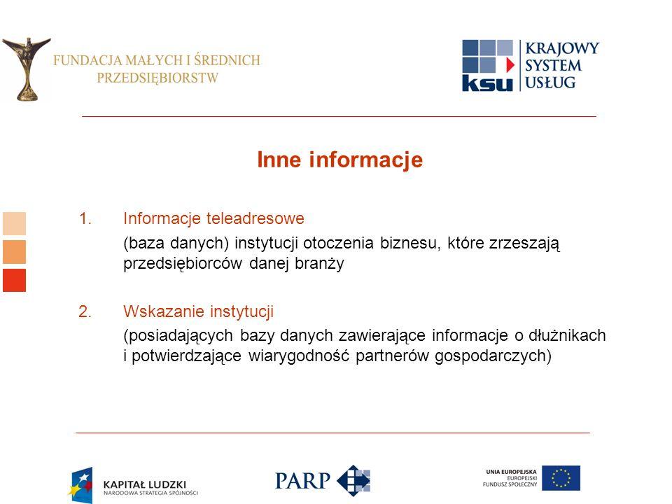 Logo ośrodka KSU Inne informacje 1.Informacje teleadresowe (baza danych) instytucji otoczenia biznesu, które zrzeszają przedsiębiorców danej branży 2.Wskazanie instytucji (posiadających bazy danych zawierające informacje o dłużnikach i potwierdzające wiarygodność partnerów gospodarczych)