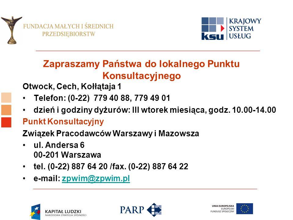 Logo ośrodka KSU Zapraszamy Państwa do lokalnego Punktu Konsultacyjnego Otwock, Cech, Kołłątaja 1 Telefon: (0-22) 779 40 88, 779 49 01 dzień i godziny dyżurów: III wtorek miesiąca, godz.