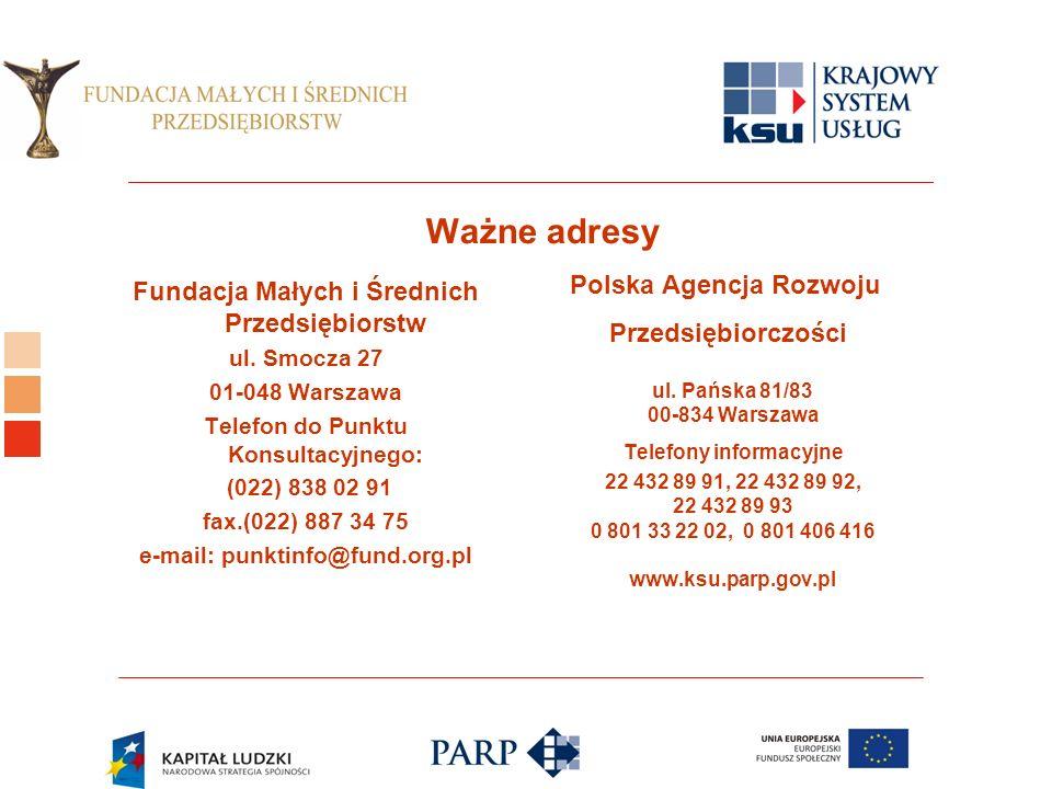 Logo ośrodka KSU Ważne adresy Fundacja Małych i Średnich Przedsiębiorstw ul.