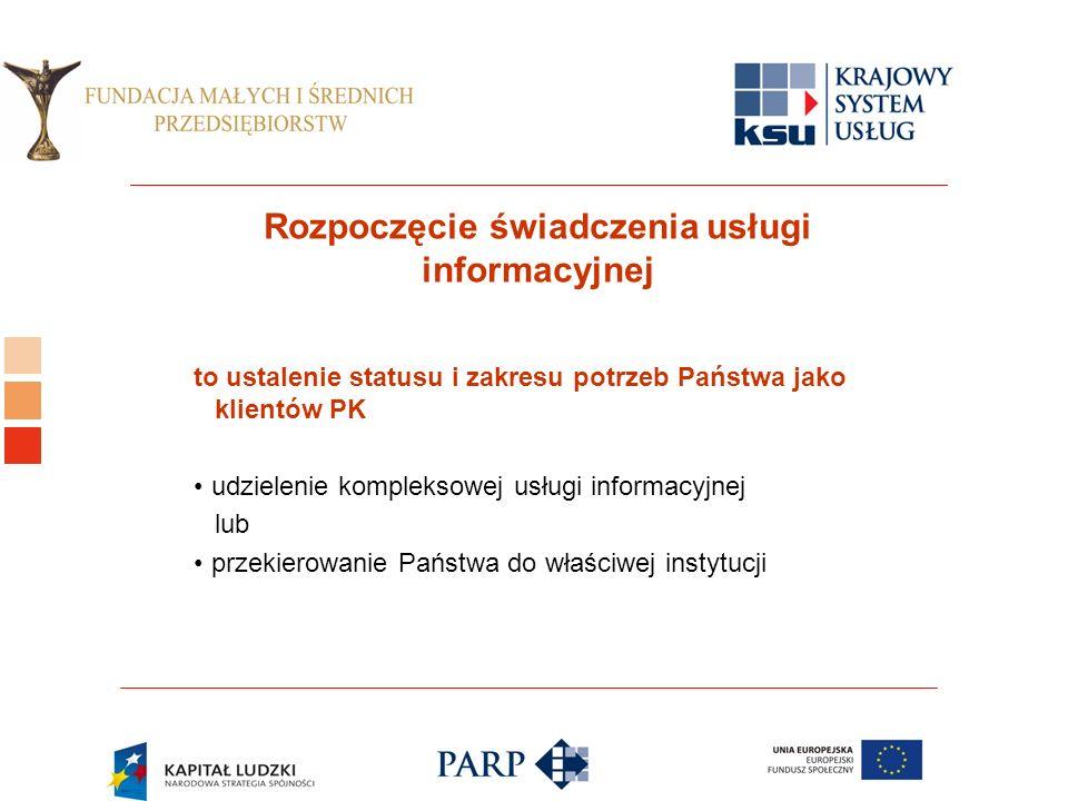 Logo ośrodka KSU Rozpoczęcie świadczenia usługi informacyjnej to ustalenie statusu i zakresu potrzeb Państwa jako klientów PK udzielenie kompleksowej usługi informacyjnej lub przekierowanie Państwa do właściwej instytucji