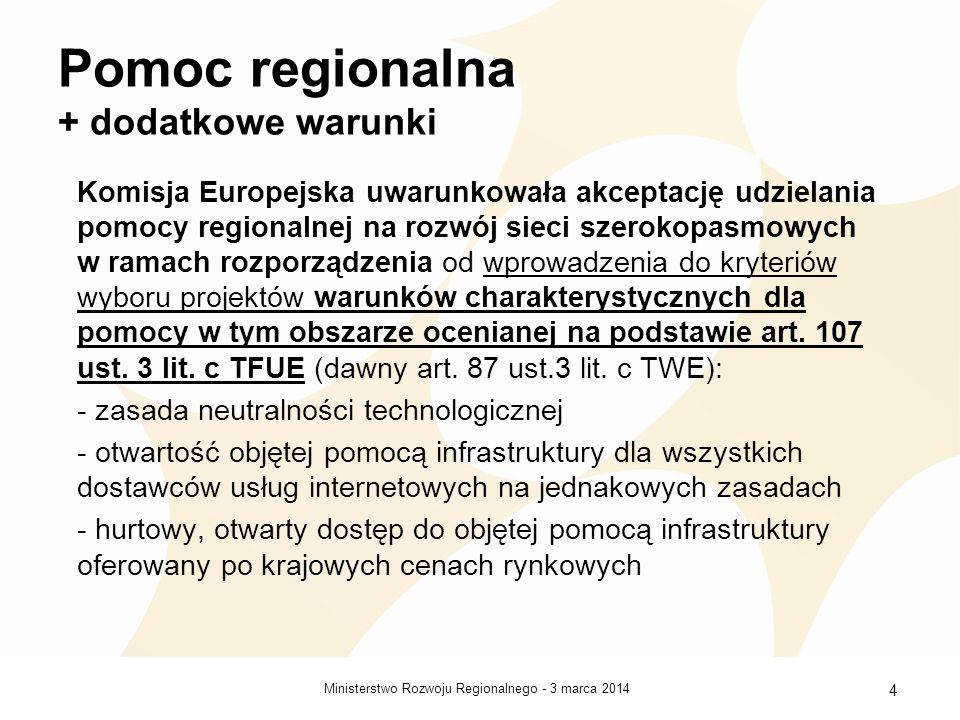 3 marca 2014Ministerstwo Rozwoju Regionalnego - 5 Przeznaczenie pomocy Realizacja tzw.