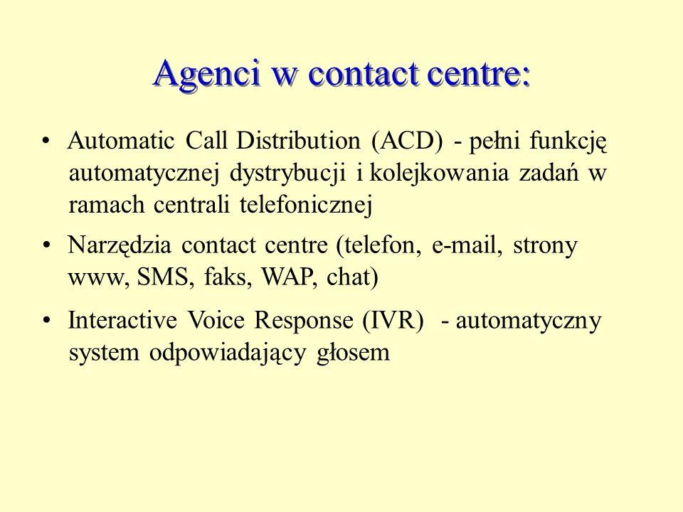 Agenci w contact centre: Automatic Call Distribution (ACD) - pełni funkcję automatycznej dystrybucji i kolejkowania zadań w ramach centrali telefonicz