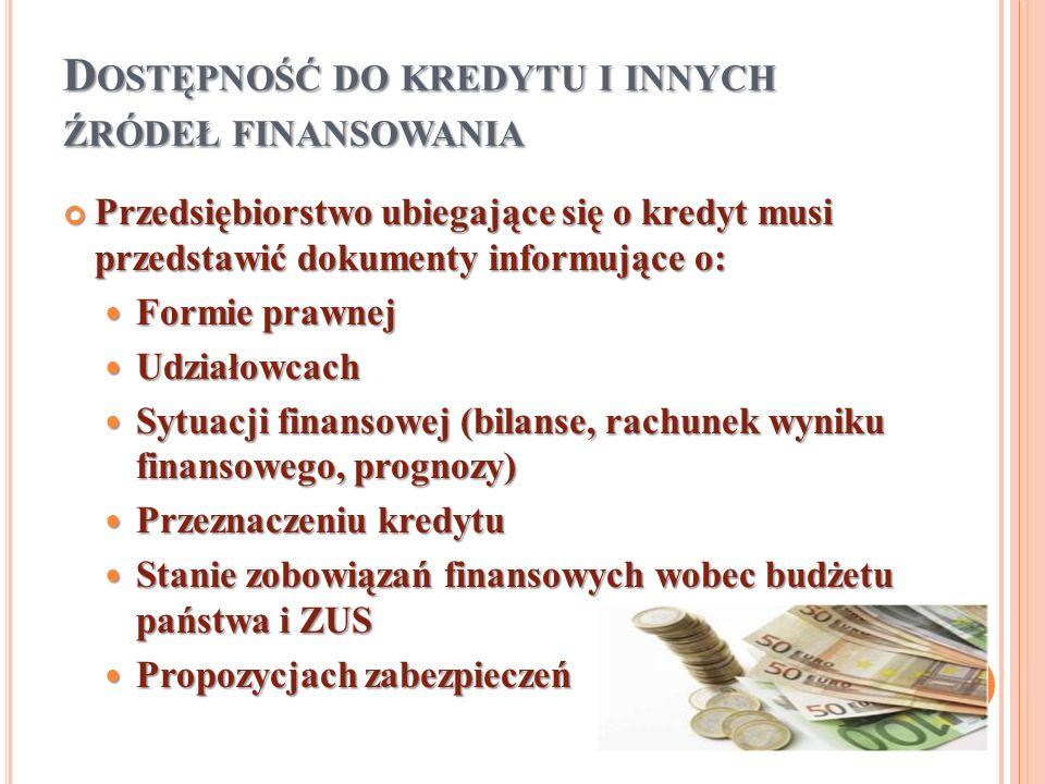 D OSTĘPNOŚĆ DO KREDYTU I INNYCH ŹRÓDEŁ FINANSOWANIA Przedsiębiorstwo ubiegające się o kredyt musi przedstawić dokumenty informujące o: Przedsiębiorstw
