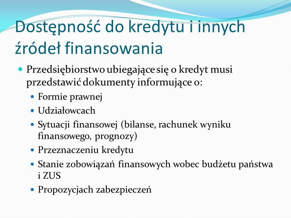 Dostępność do kredytu i innych źródeł finansowania Przedsiębiorstwo ubiegające się o kredyt musi przedstawić dokumenty informujące o: Formie prawnej U